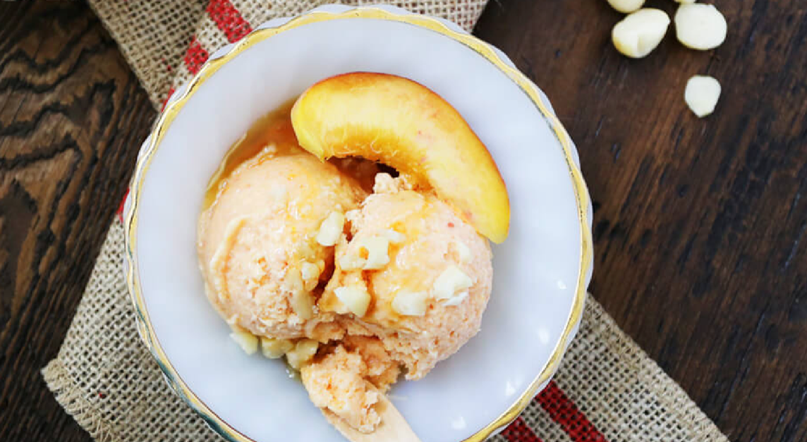 Homemade Dairy Free Peach Ice Cream
