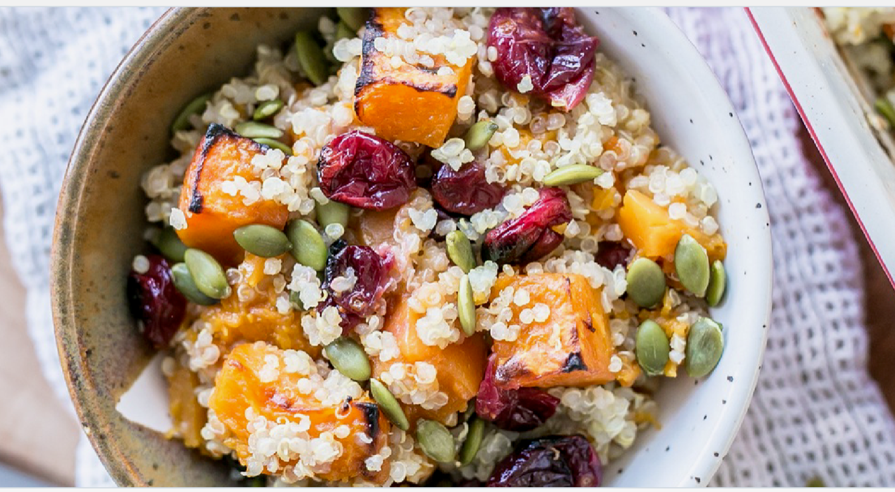Roasted Cranberry & Sweet Potato Quinoa Salad