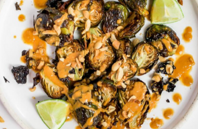 Roasted Brussels Sprouts with Spicy Peanut Sauce