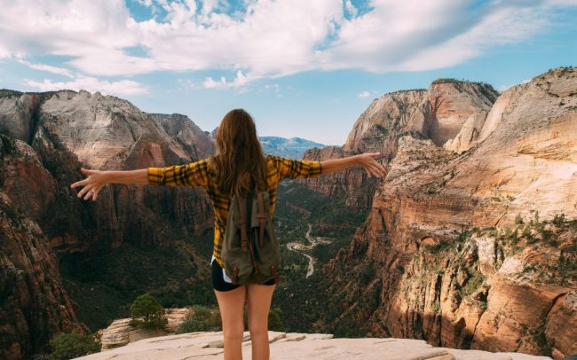 person standing at grand canyon