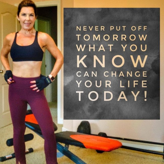 woman in workout clothes and quote