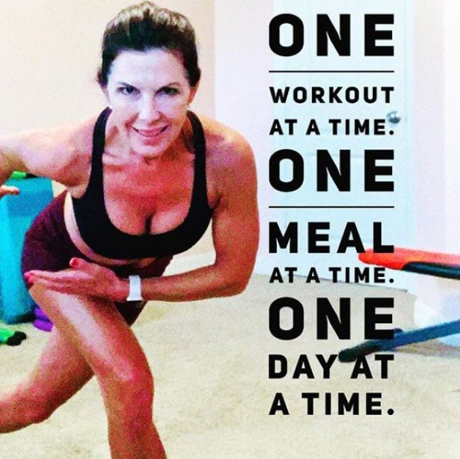 woman working out and quote